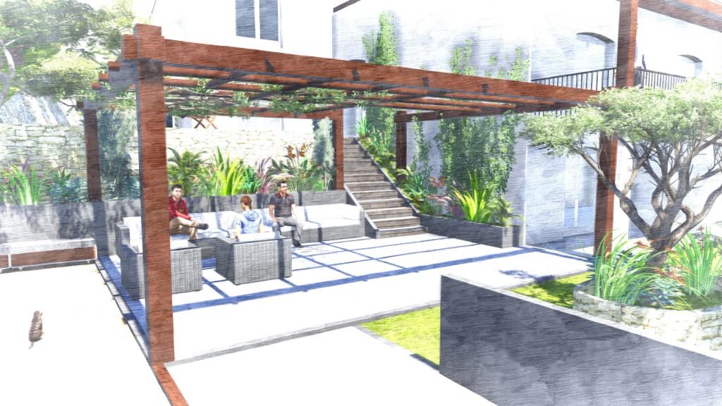 Implantation d'une pergola - jardin
